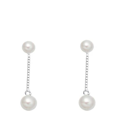 Liv Oliver Sterling Silver Double Pearl Drop Earrings