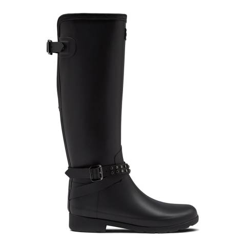 Hunter Black Refined Adjustable Tall Studded Wellington Boot