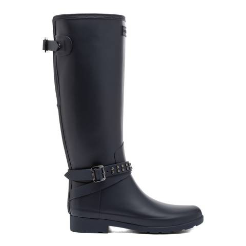 Hunter Navy Refined Back Studded Tall Wellington Boot