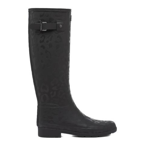 Hunter Black Textured Refined Hybrid Tall Wellington Boots