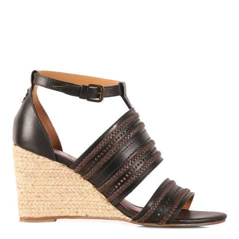 Oliver Sweeney Black Praso Leather Wedge Sandal