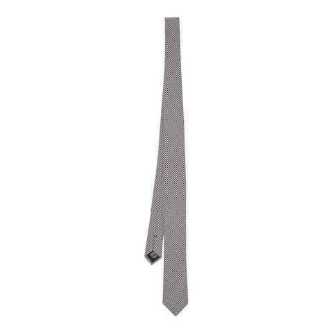 BOSS Black/White Houndstooth Silk Tie