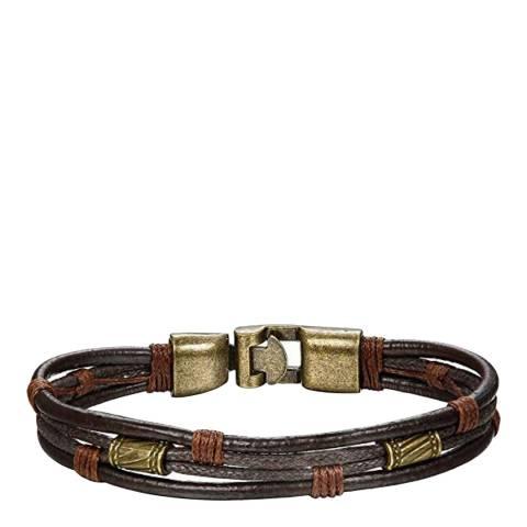 Stephen Oliver Gold / Brown Leather Bracelet