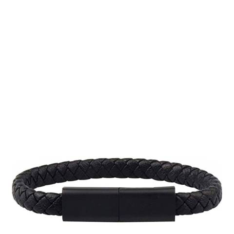 Stephen Oliver Black Plated Charging Cable Leather Bracelet
