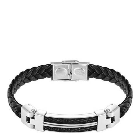 Stephen Oliver Silver Plated Black Leather Two Tone Bracelet