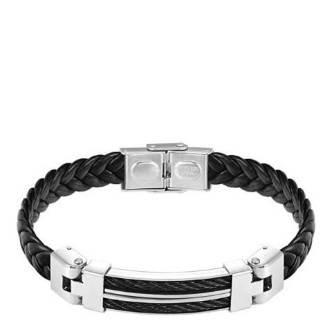 Stephen Oliver Silver Black Leather Two Tone Bracelet
