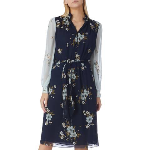 Joie Navy/Multi Two Tone Abbryana Dress