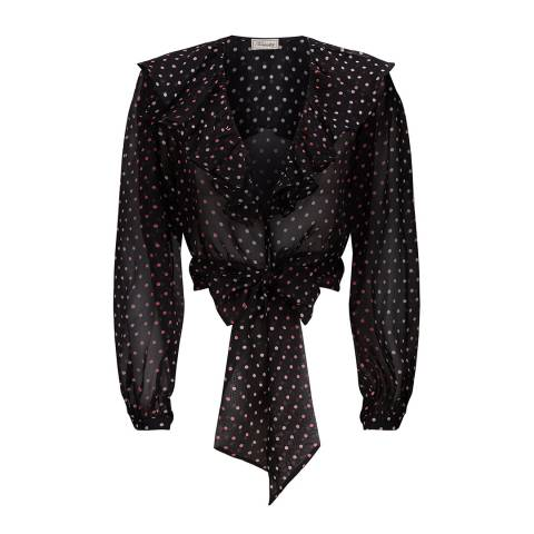 Temperley London Black Dot Printed Silk Ruffle Blouse