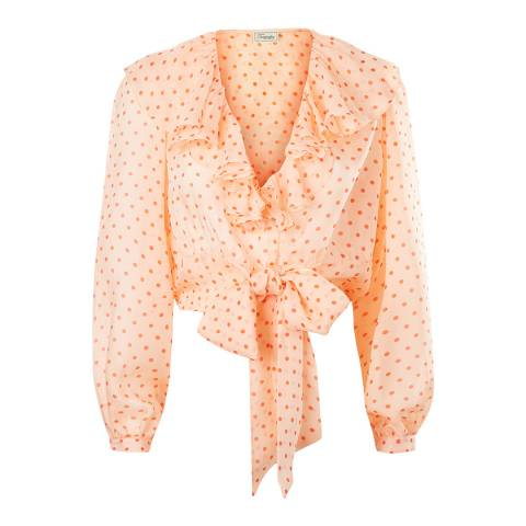 Temperley London Orange Dot Printed Silk Ruffle Blouse