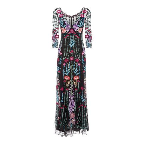 Temperley London Black Woodland V-Neck Dress