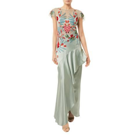Temperley London Mint Botanist Silk Blend Long Dress