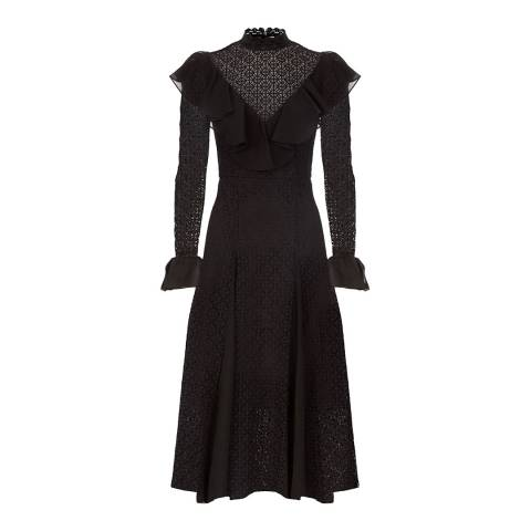 Temperley London Black Prairie Lace Ruffle Dress
