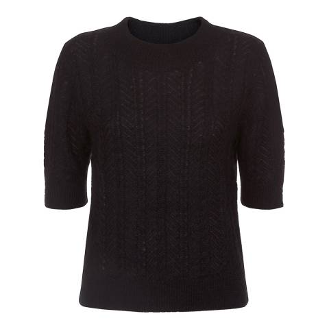 Temperley London Black Bessie Short Sleeve Jumper