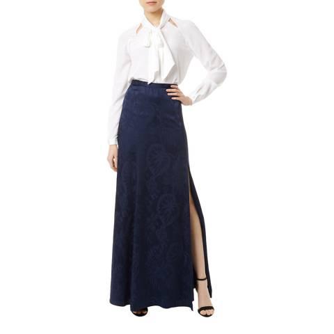 Temperley London Navy Orbit Silk Blend Evening Skirt