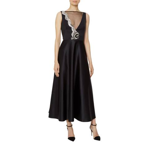 Temperley London Black Waterlily Silk Blend Midi Dress