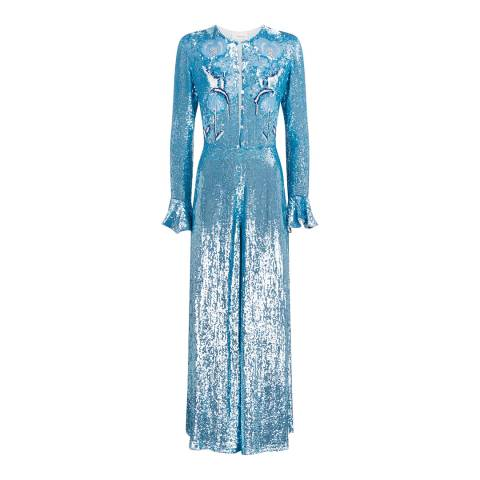 Temperley London Blue Sequined Wild Horse Jumpsuit