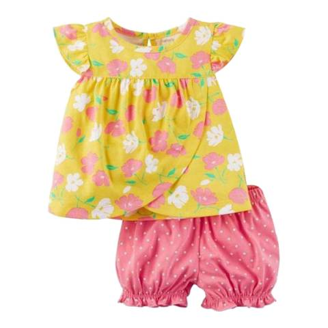 Bambino Organics Yellow/Pink Top & Shorts Two-Piece