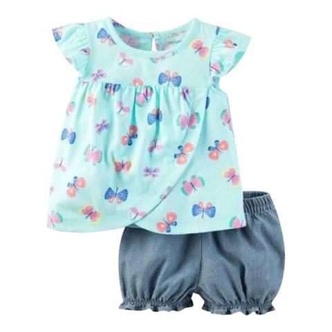 Bambino Organics Aqua/Navy Top & Shorts Two-Piece