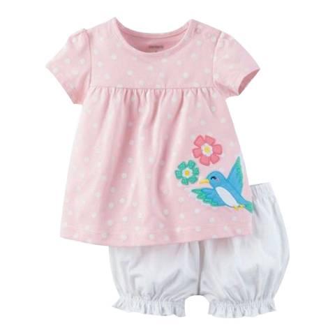 Bambino Organics Pink/White Top & Shorts Two-Piece