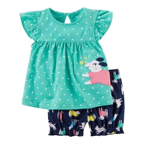 Bambino Organics Sky Blue/Navy Top & Shorts Two-Piece