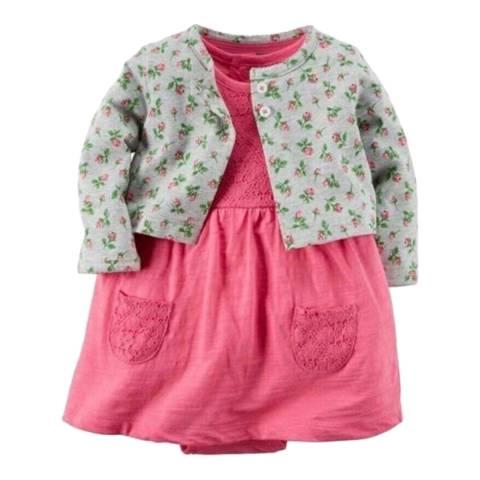 Bambino Organics Grey/Pink Dress & Cardigan Two-Piece