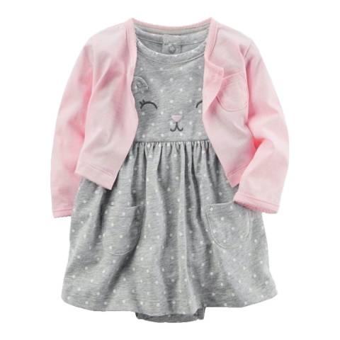 Bambino Organics Pink/Grey Dress & Cardigan Two-Piece