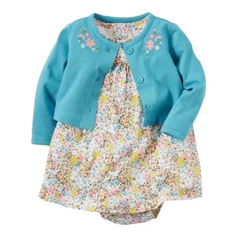 Bambino Organics Blue/Yellow Dress & Cardigan Two-Piece