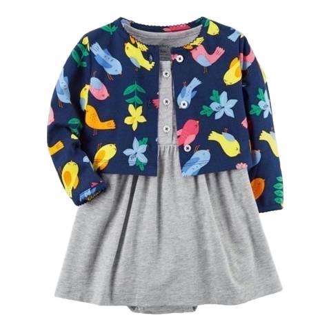 Bambino Organics Navy/Grey Dress & Cardigan Two-Piece
