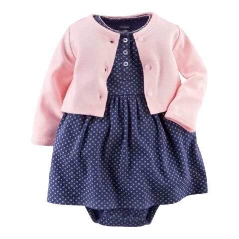 Bambino Organics Pink/Navy Dress & Cardigan Two-Piece