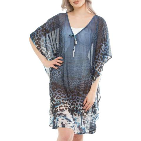 Seaspray Blue Leopard Print Multiwear Kaftan