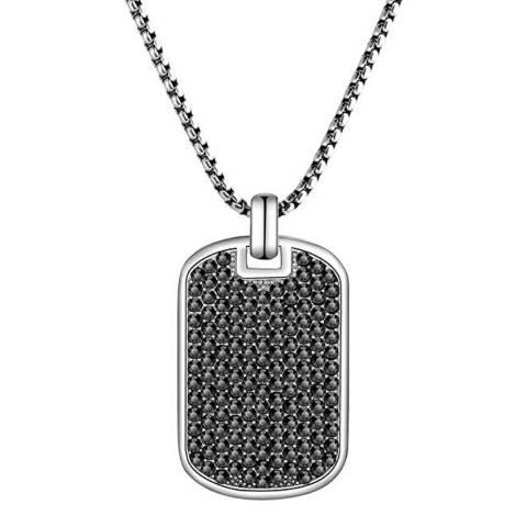 Stephen Oliver Silver & Black CZ Tag Necklace