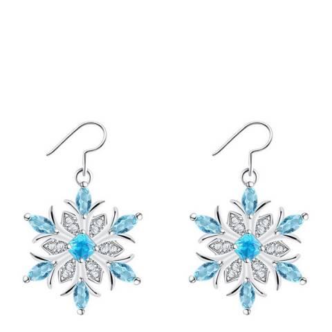 Ma Petite Amie Sapphire Flower Petal Snowflake Earrings with Swarovski Crystals