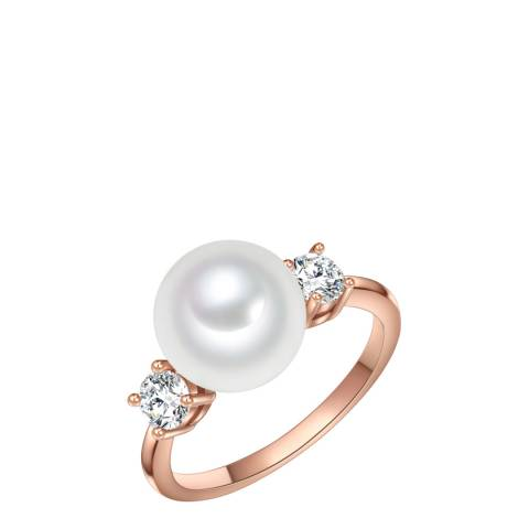 Perldesse Rose Gold Pearl Cubic Zirconia Ring 10mm