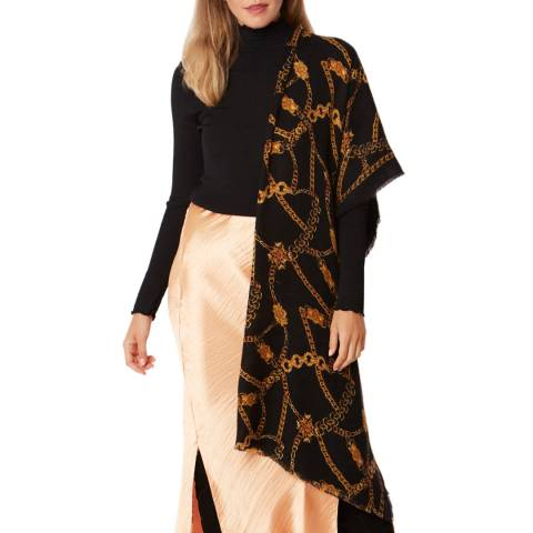 JayLey Collection Black Small Chain Print Cashmere Blend Wrap