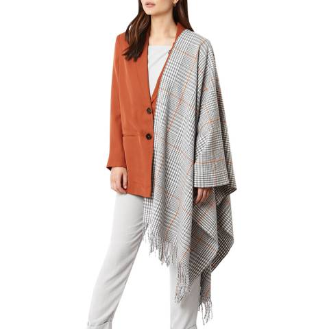 JayLey Collection Grey Check Cashmere & Silk Blend Wrap