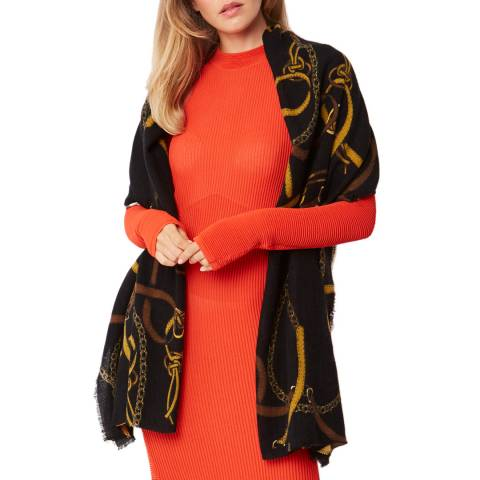 JayLey Collection Black Chain Print Cashmere Blend Wrap