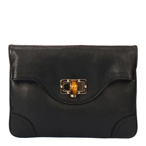 Giulia Massari Black Leather Clutch Bag