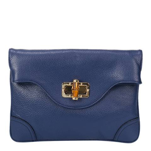 Giulia Massari Blue Leather Clutch Bag