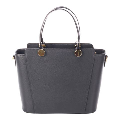 Giulia Massari Dark Grey Leather Top Handle Bag