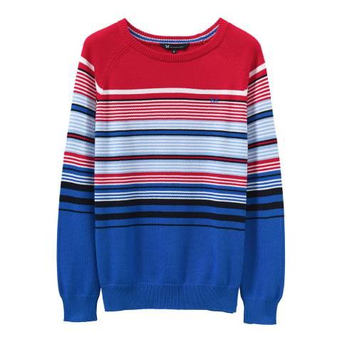 Crew Clothing Red/Blue Engineered Stripe Raglan
