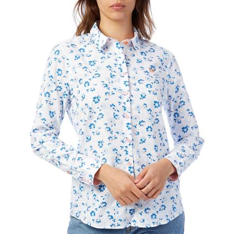 Crew Clothing White Linen Floral Print Shirt