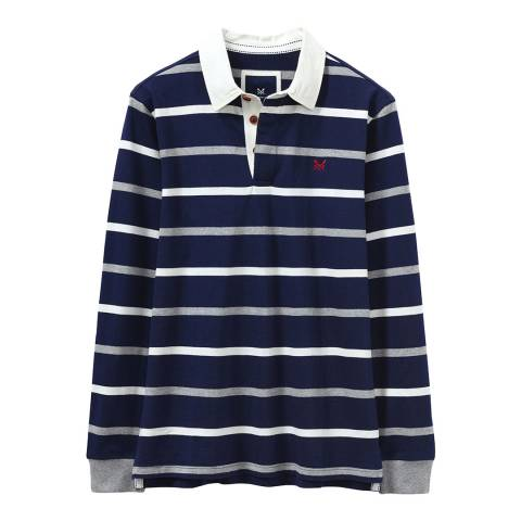 Crew Clothing Navy Multi Breton Rugby Polo Shirt