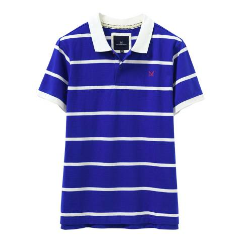 Crew Clothing Blue/White Jersey Polo Shirt