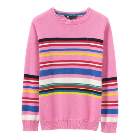Crew Clothing Pink Multi Stripe Jumper