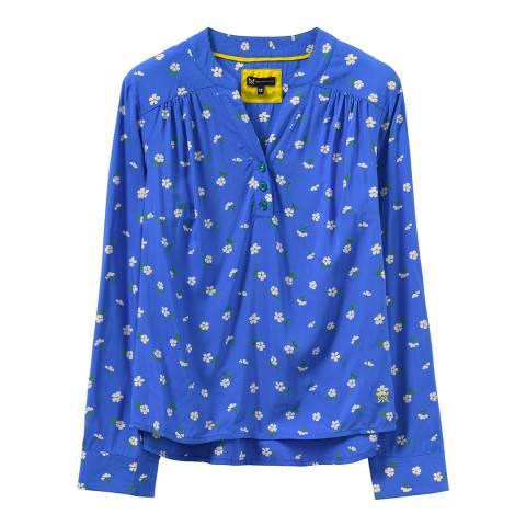 Crew Clothing Blue Print Y Neck Top