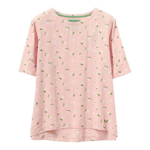 Crew Clothing Pink Floral Short Sleeve Woven T-Shirt