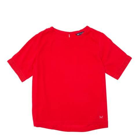 Crew Clothing True Red Plain Short Sleeve Woven T-Shirt