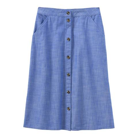 Crew Clothing Blue Chambray Mid Skirt
