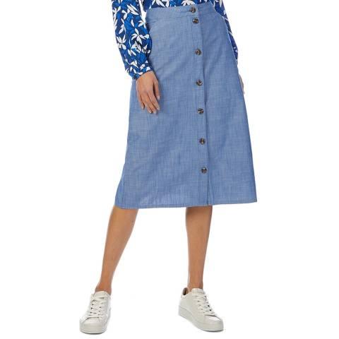 Crew Clothing Blue Chambray Cotton Midi Skirt