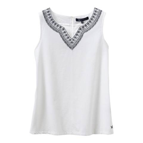 Crew Clothing White Embroidered Neck Vest
